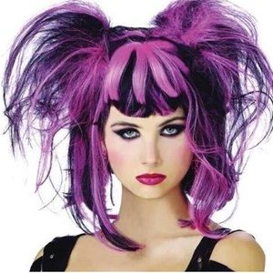 Pink And Black Punk Pixie Wig Halloween